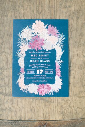 Pink, White and Blue Floral Wedding Invitations
