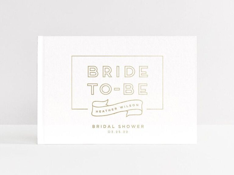 White and gold Bride-to-Be bridal shower guest book