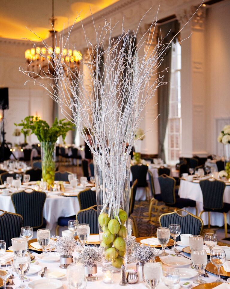Pear and tall branch centerpiece