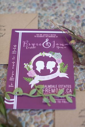 Purple Book-Inspired Silhouette Wedding Invitation