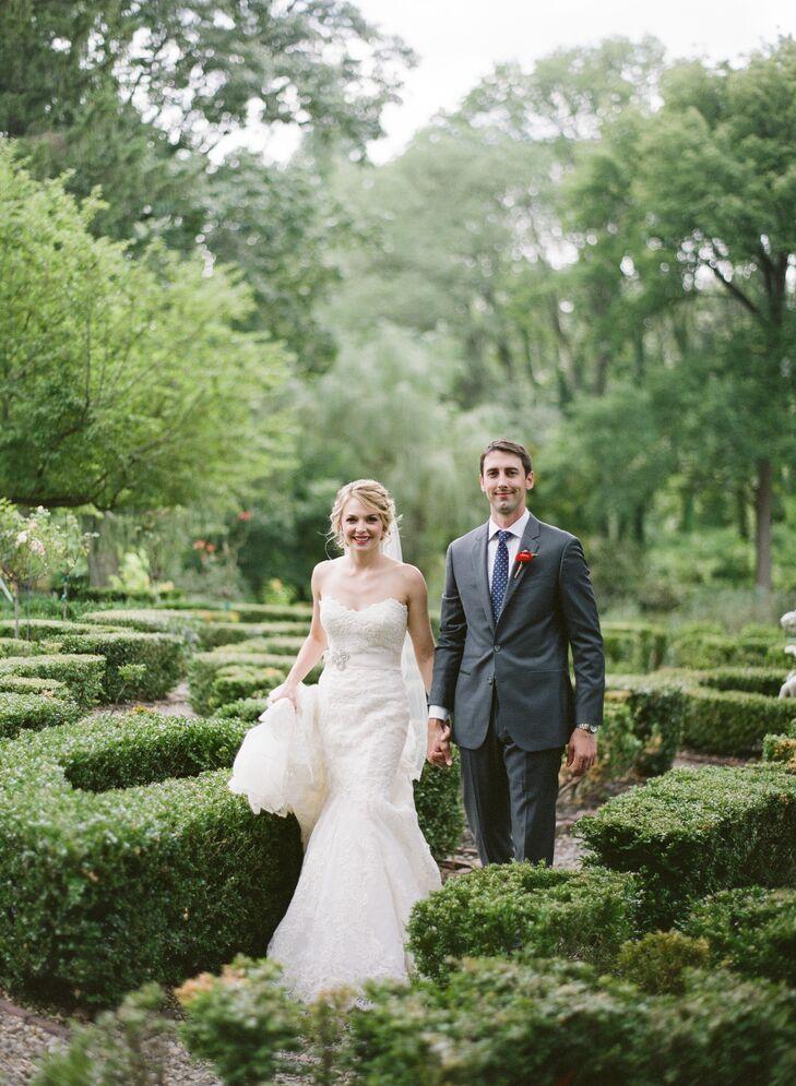 Bride and Groom Wandering Appleford Property