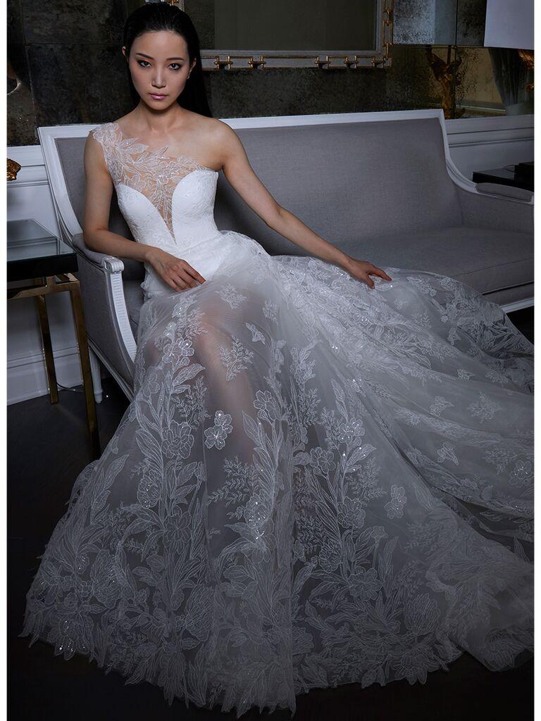 Romona Keveza wedding dress one-shoulder illusion dress
