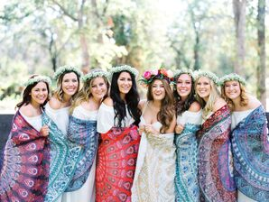 Bride and Wedding Party in Tie-Dye Shawls and Flower Crowns