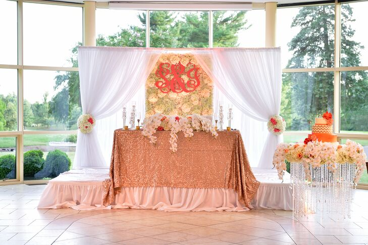 Glamorous Peach SweetheartTable with Monogrammed Backdrop