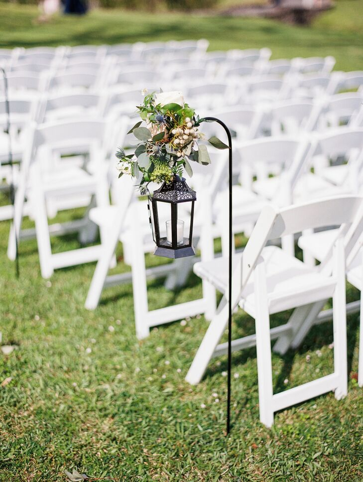 Eucalyptus and Thistle Lantern Aisle Markers