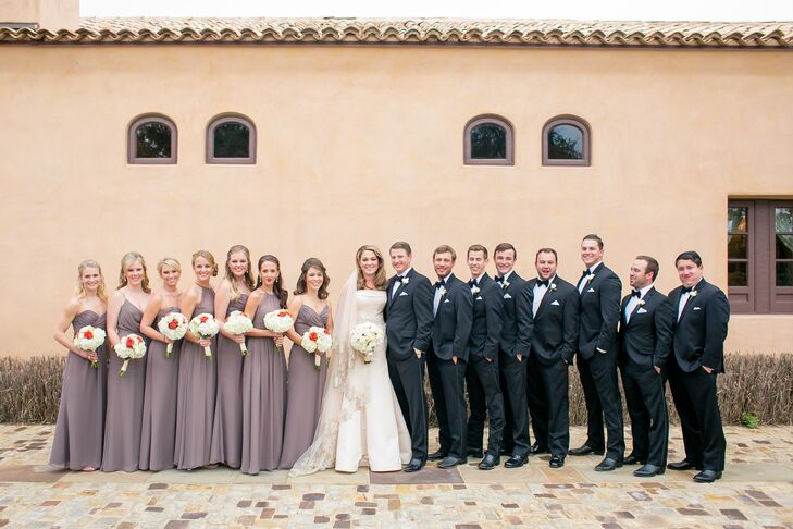1294ba16a7f Formal Taupe Wedding Party at Escondido Golf and Lake Club