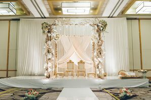 Traditional Hindu Mandap with Blush Pink Flowers
