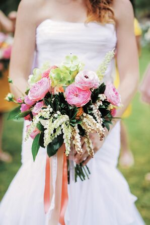 Rustic Pink and Yellow Garden Rose Bouquet