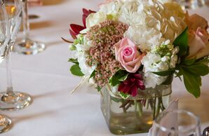 Lush Flower Centerpiece in Glass Vase