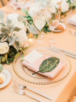 Leaf Escort Cards with Gold Calligraphy