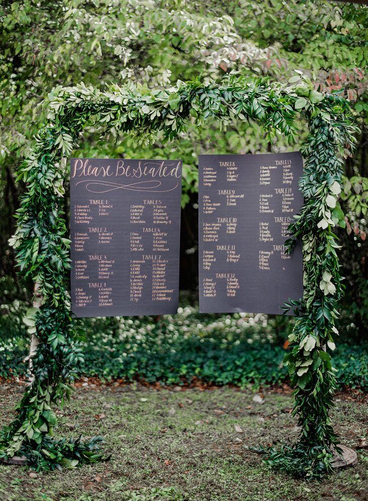 Lush Green Garland-Framed Seating Chart
