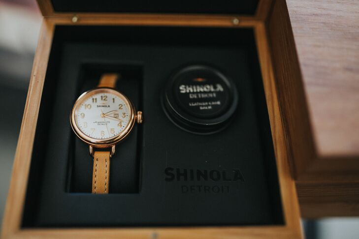The couple gave each other Shinola watches, manufactured in Detroit, Michigan, before the ceremony.