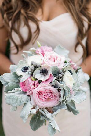 Pastel Garden Rose and Dusty Miller Bouquet
