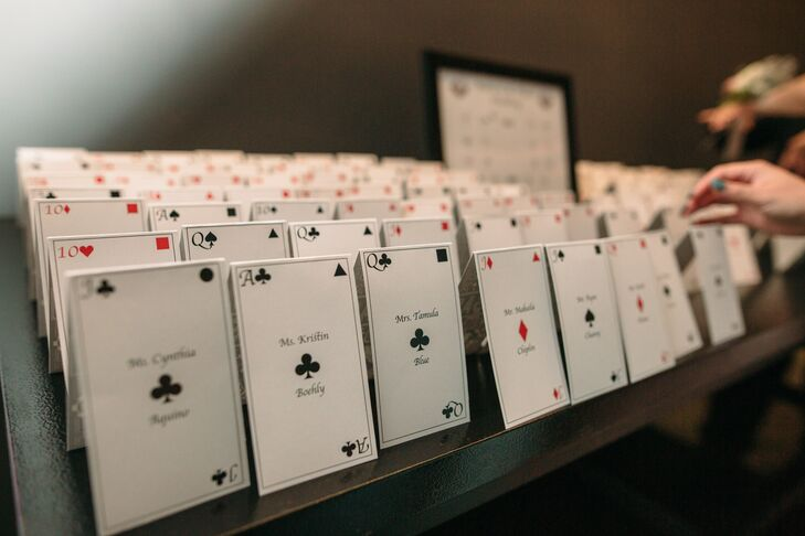 Modern Playing Card Escort Card Display