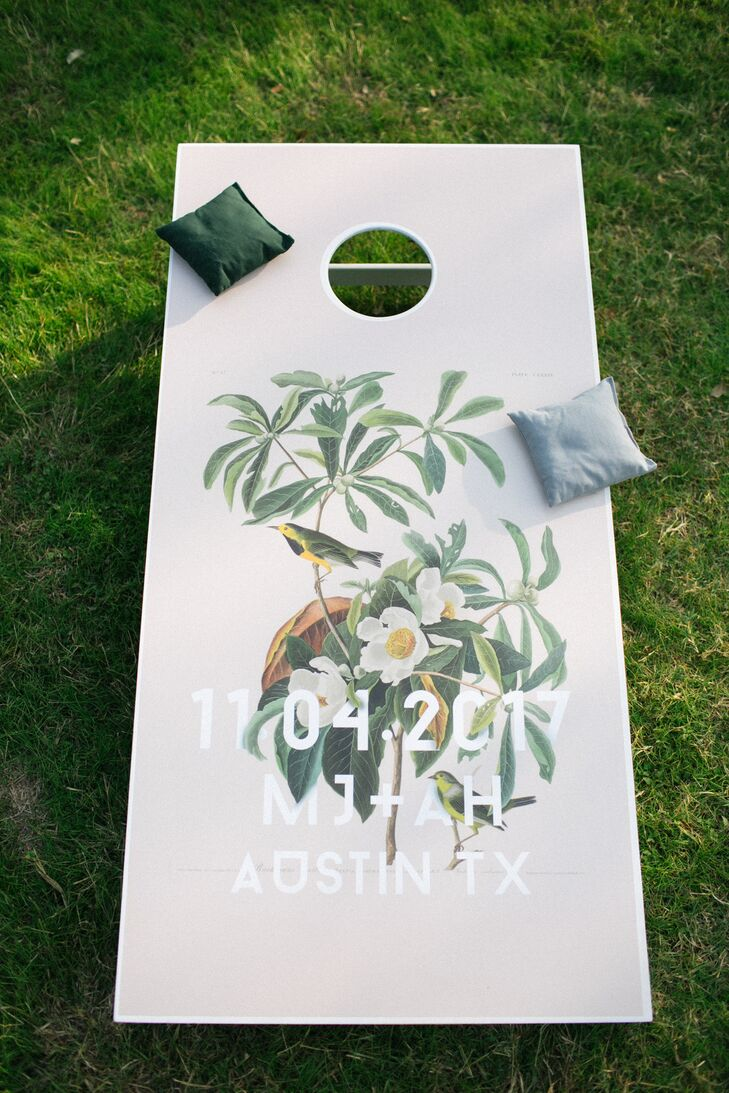 Custom Cornhole Boards for Eclectic Wedding in Driftwood, Texas