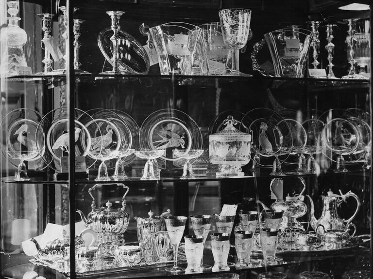Display of glass and silver wedding gifts for Queen Elizabeth and Prince Charles in St. James's Palace