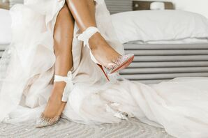 Glamorous  Christian Louboutin High Heels with Crystals and Ankle Ties
