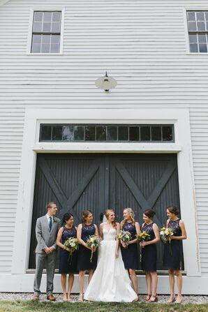 Elegant Navy Lace Bridesmaid Dresses