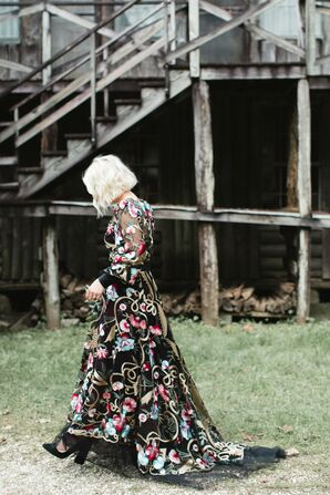 Alternative Black Wedding Dress with Colorful Floral Pattern