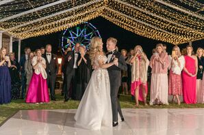 Traditional First Dance with Dance Floor and String Lights
