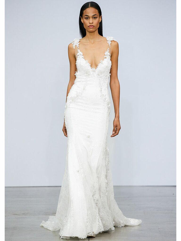 Pnina Tournai wedding dress a-line dress with floral straps