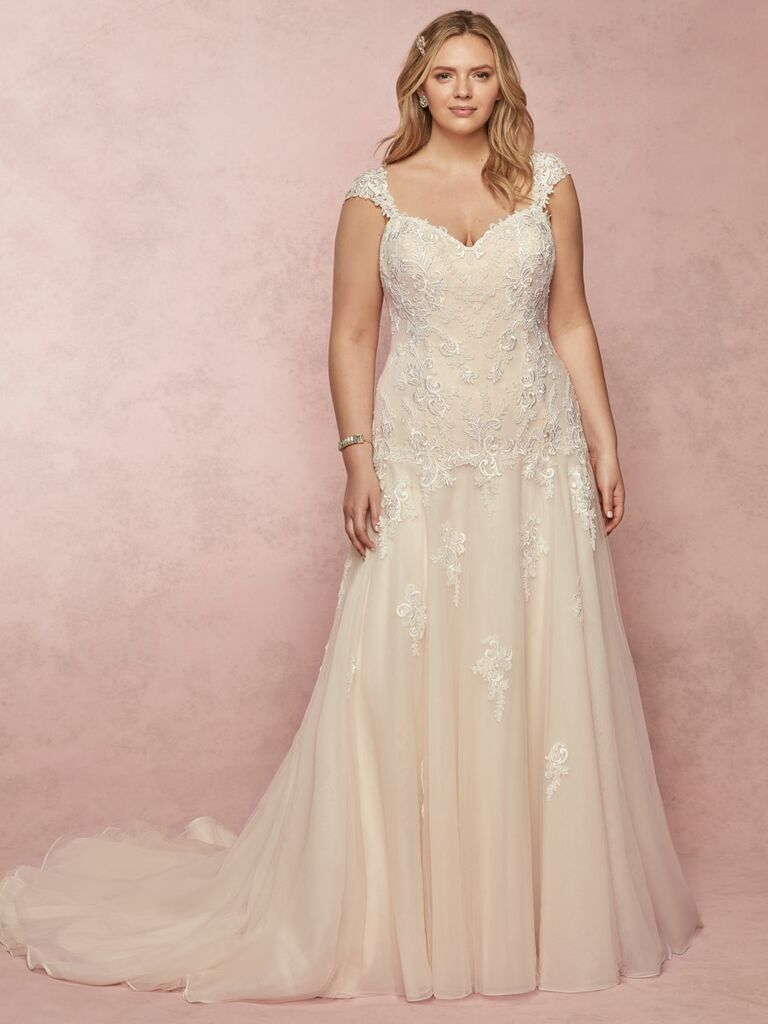 Rebecca Ingram Spring 2019 lace and beaded plus size wedding dress with straps