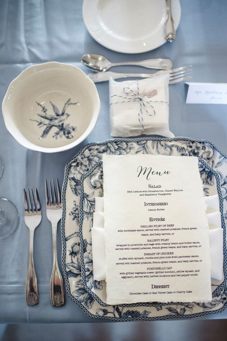 Every guest sat down to a pretty blue and white place setting, complete with a menu listing the courses.