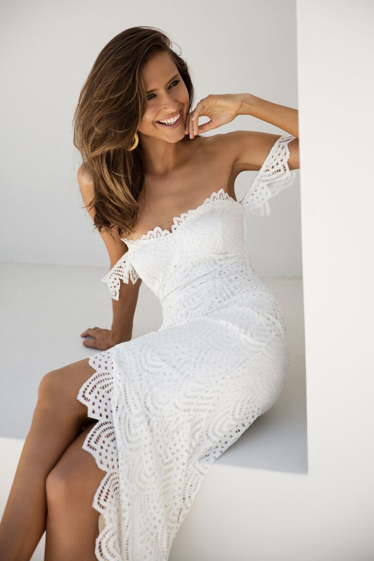 Grace Loves Lace Elixir Collection off-the-shoulder wedding gown with a scalloped hemline