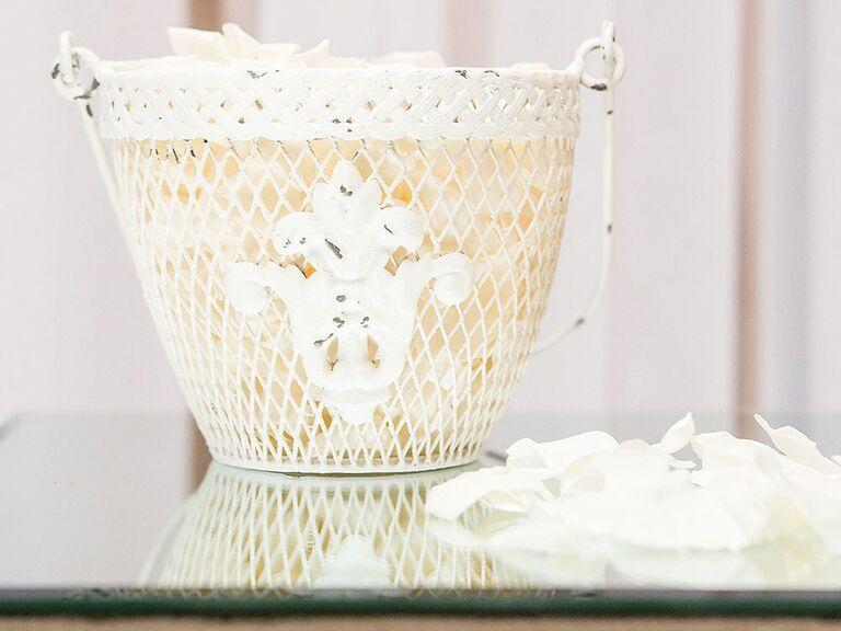 shabby-chic white metal flower girl basket