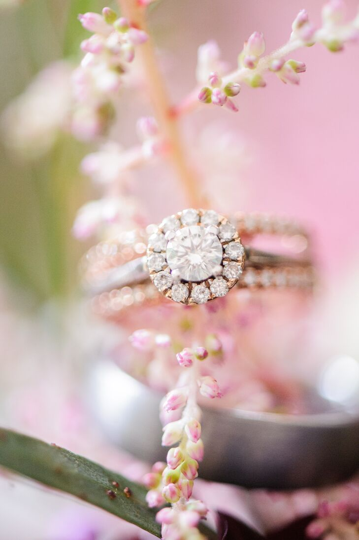 """When Ryan started asking Kelby about ring styles, she had a feeling he was going to propose, so she did some research on designs she liked. """"I did end up picking out my engagement ring, although that really wasn't my intention,"""" she says. """"I decided to take a peek at different ring styles and fell in love with one."""" Her ring features a combination of white and rose gold and dainty diamonds."""