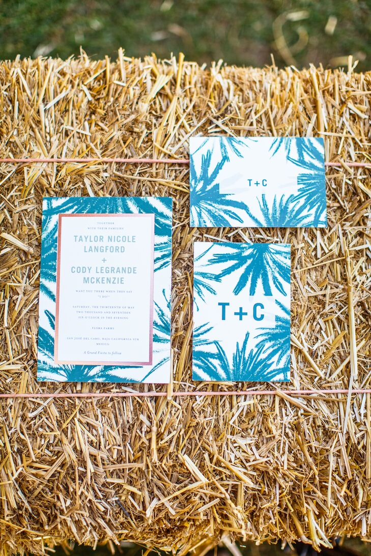 Taylor and Cody's vibrant turquoise palm frond wedding invitations set the tone for their relaxed nuptials at Flora Farm in San Jose del Cabo, Mexico.