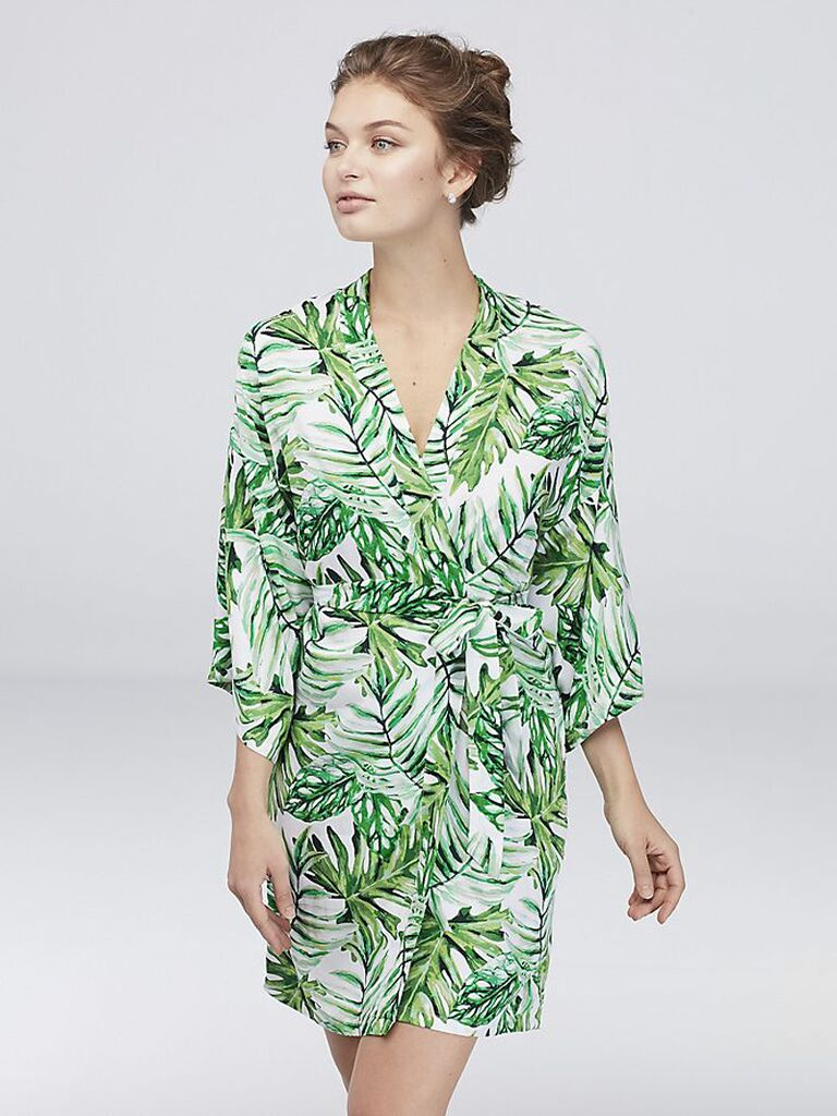 Tropical cotton bridesmaid robe