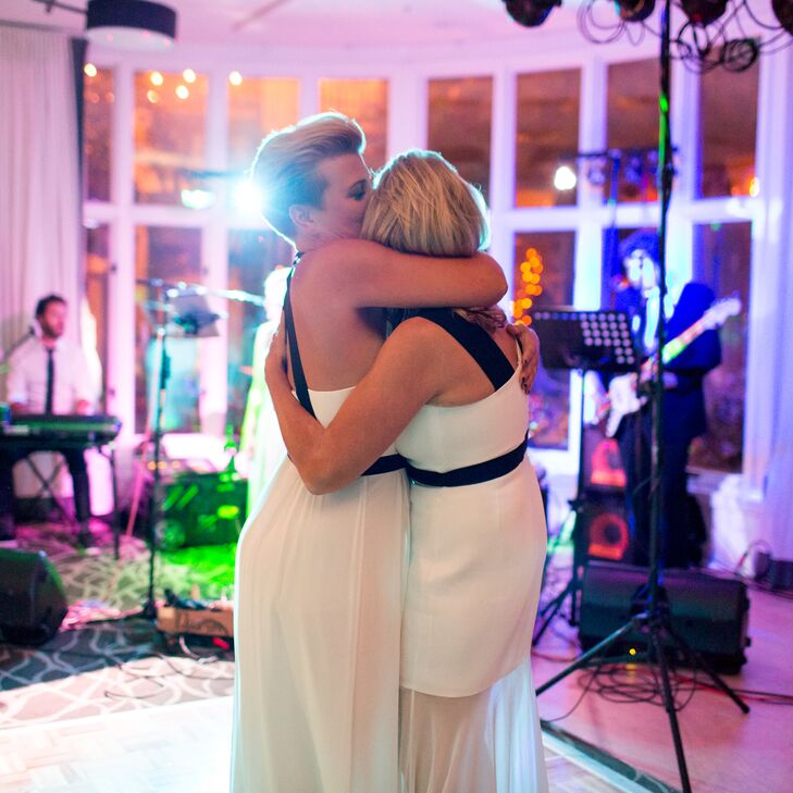 First Dance with Brides in Black-and-White Dresses