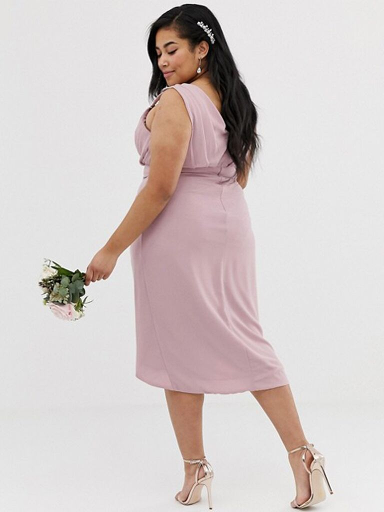 Embellished blush plus size bridesmaid dress