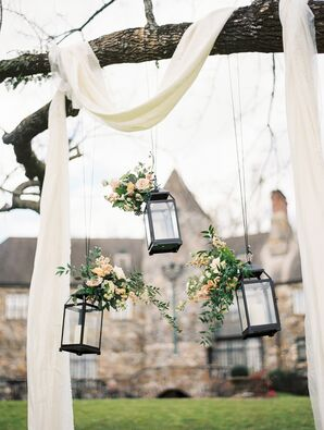 Wooden Arch with Hanging Lanterns