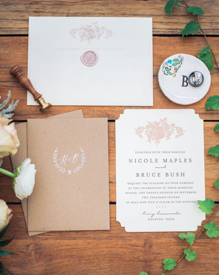 Vintage Floral Wedding Invitations with Wax Seals