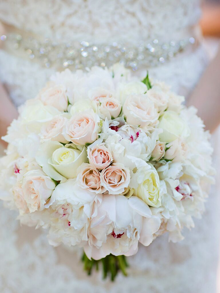 Merveilleux White Bouquet With Peonies And Roses
