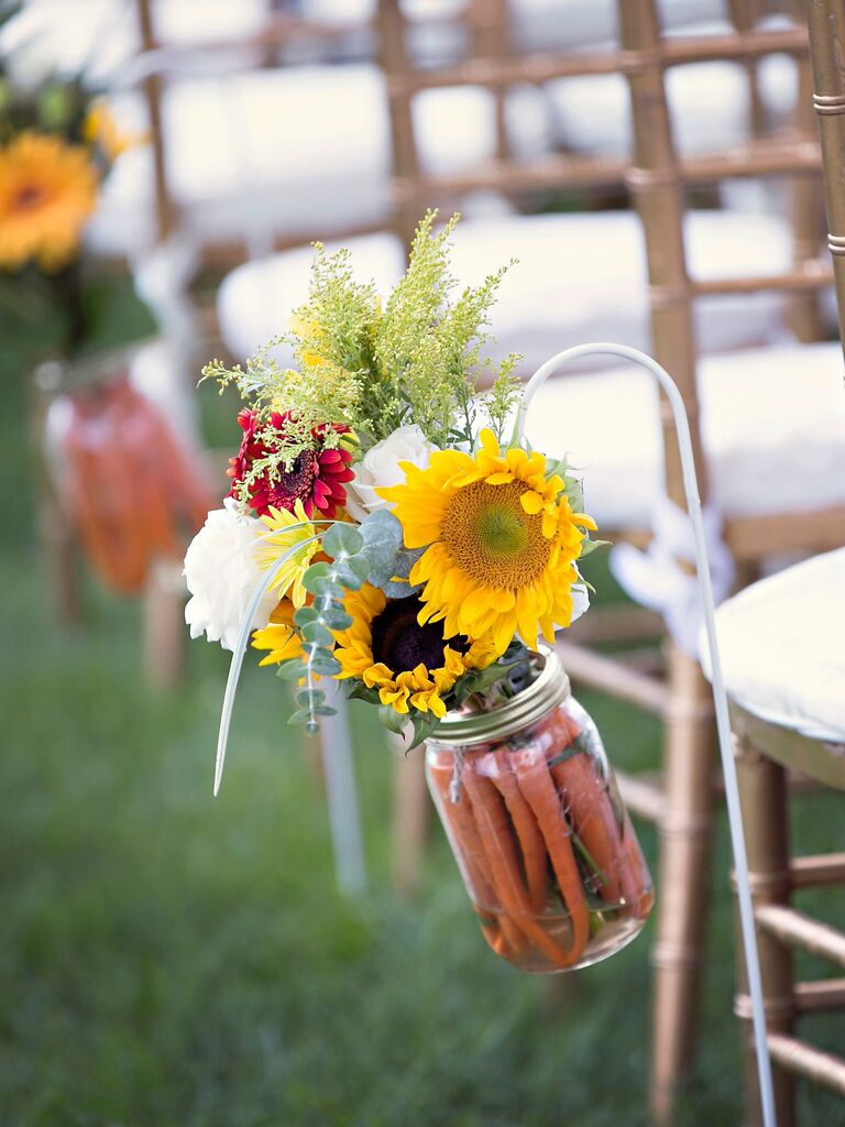 Sunflowers and Vegetables ceremony aisle decor