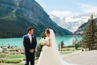 """Louisa Lai and Mitchell Yu took full advantage of Alberta's natural beauty by hosting their wedding on the shores of Lake Louise.<br><br>""""The ceremony"""