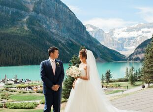 "Louisa Lai and Mitchell Yu took full advantage of Alberta's natural beauty by hosting their wedding on the shores of Lake Louise.<br><br>""The ceremony"