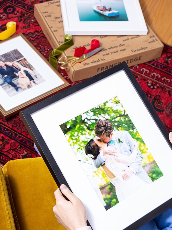 framed engagement photo