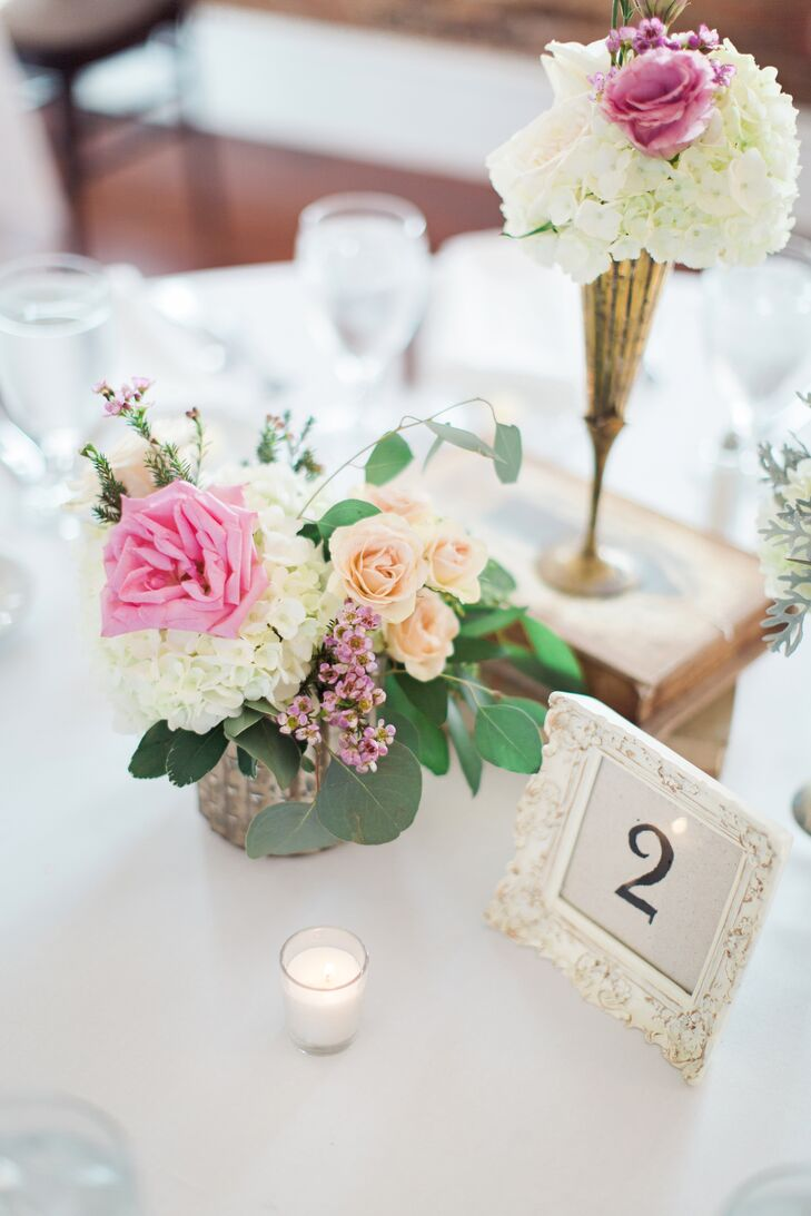 Vintage Floral Centerpieces with Pink Garden Roses