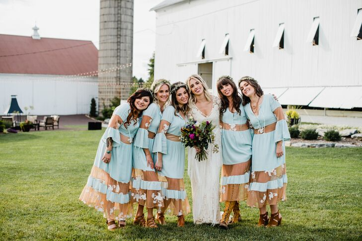 Bohemian Pale Blue Bridesmaid Dresses with Sheer Lace Cutouts