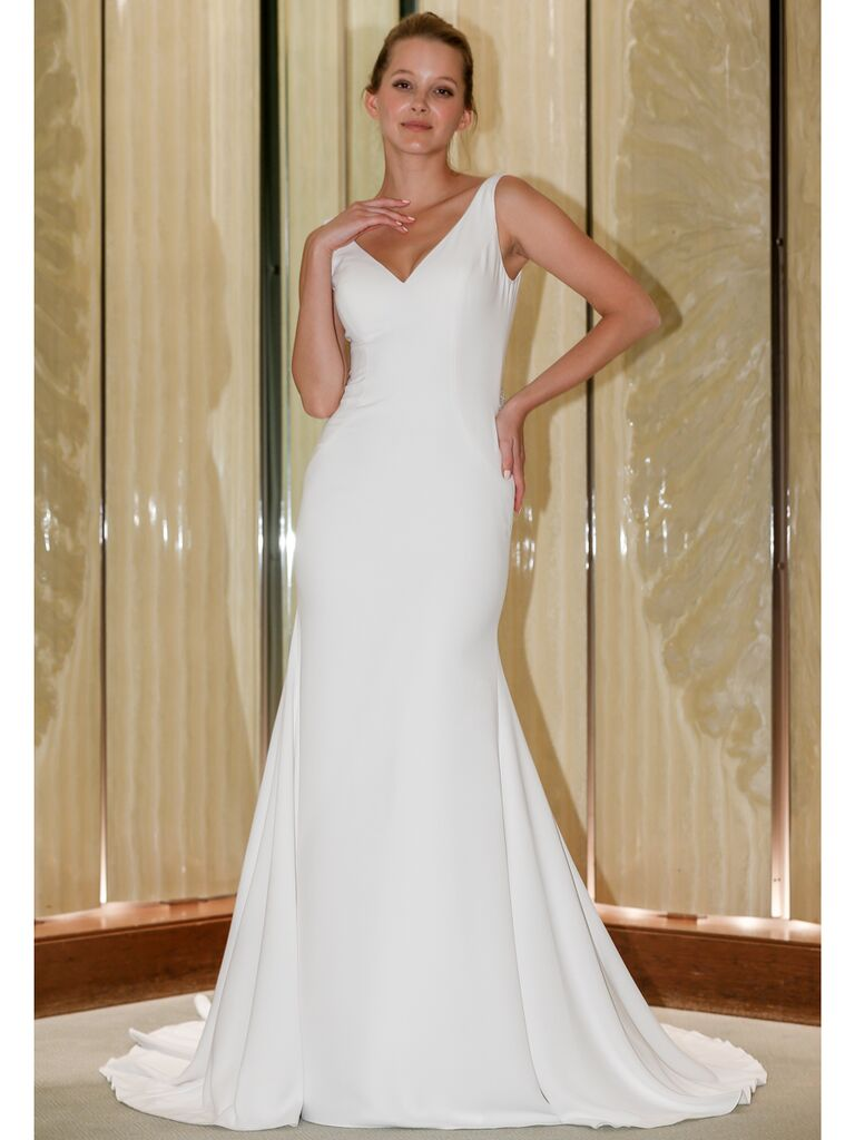 Randy Fenoli Fall 2019 Bridal Collection simple crepe trumpet wedding dress with V-neck