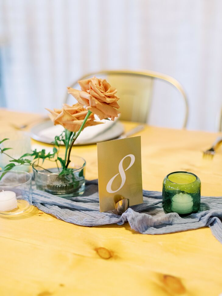 Simple Table Number on Table with Blue-and-Toffee Color Palette