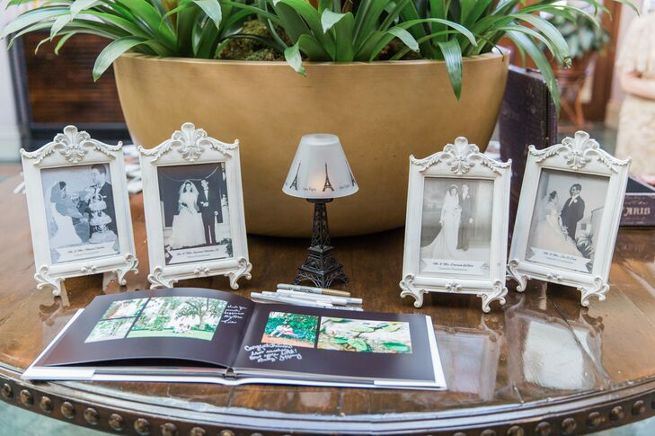 Even Cassandra and Josh's guest book was met with a little Eiffel Tower lamp. The couple asked each of their 97 guests to sign a personalized photo album with metallic markers as family wedding photos surrounded the display in matching antique-style frames.