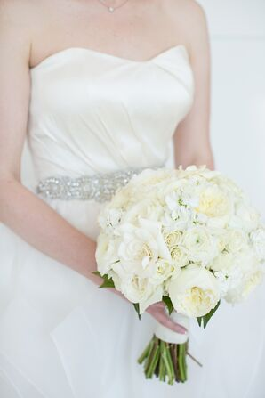 Ivory Garden Rose and Gardenia Bouquet