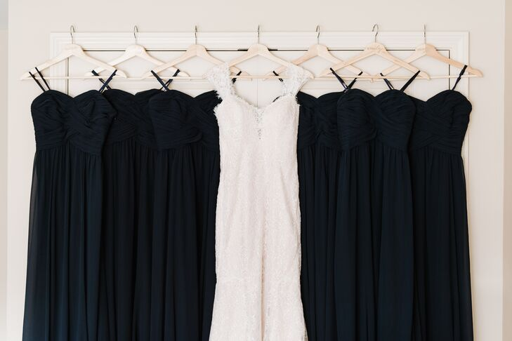 Strapless Navy Chiffon Ralph Lauren Bridesmaid Dresses