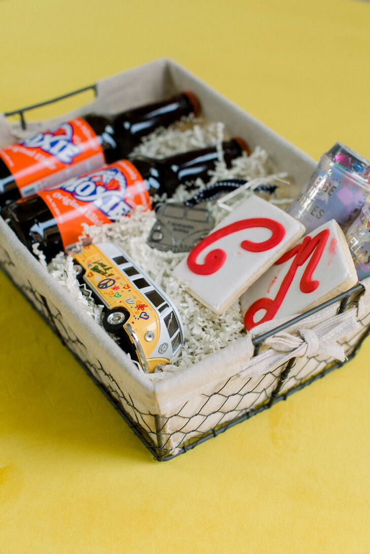 Welcome Basket with Retro Soda, Cookies and Volkswagen Figurine