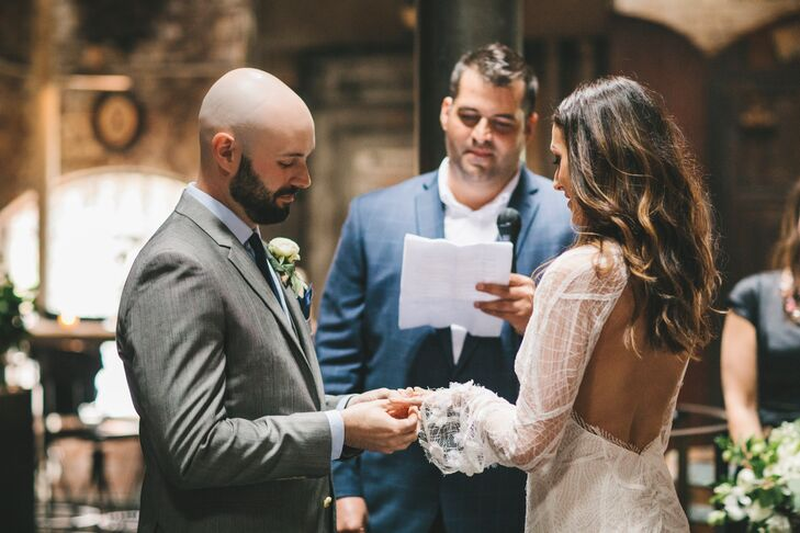 """At the couple's intimate five-minute ceremony, Amanda and the bridal party walked down to Led Zeppelin's """"Thank You,"""" and their friend AJ officiated. """"We had a personal script that he read, and it included lots of humor,"""" Amanda says. """"Three close friends made short, beautiful speeches, and we said, 'I do.' """""""